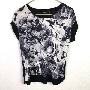 Apt. 9 Black & Gray Abstract Floral Top